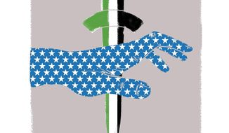 Illustration on Palestinian efforts to thwart peace by Linas Garsys/The Washington Times