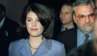 Monica Lewinsky in 1998, at the height of media coverage following her involvement with President Clinton, which resulted in his impeachment. (Associated Press)