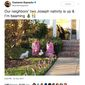 Comedian Cameron Esposito's tweet about an LGBT-inspired Nativity scene in her Los Angeles neighborhood was shared over 22,000 times on Twitter within four days. (Image: Twitter, Cameron Esposito)