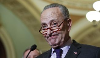 Senate Minority Leader Chuck Schumer of N.Y., pauses while speaking on Capitol Hill, Tuesday, Nov. 28, 2017, in Washington. (AP Photo/Alex Brandon)