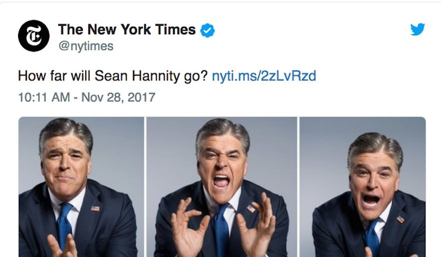 Fox News star Sean Hannity told his radio audience on Nov. 28, 2017, that executives are upset about the promotional material used for a New York Times interview. (Image: Twitter, New York Times)