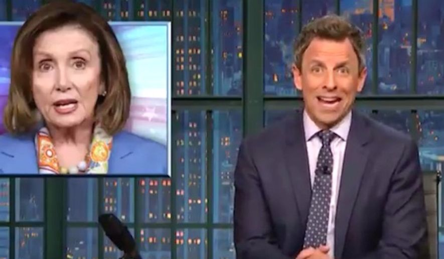 """Comedian Seth Meyers told his """"Late Night"""" studio audience on Nov. 27, 2017, that House Minority Leader Nancy Pelosi's comments on sexual misconduct allegations against Rep. John Conyers were """"shockingly tone deaf."""" (Image: NBC, """"Late Night"""" screenshot)"""