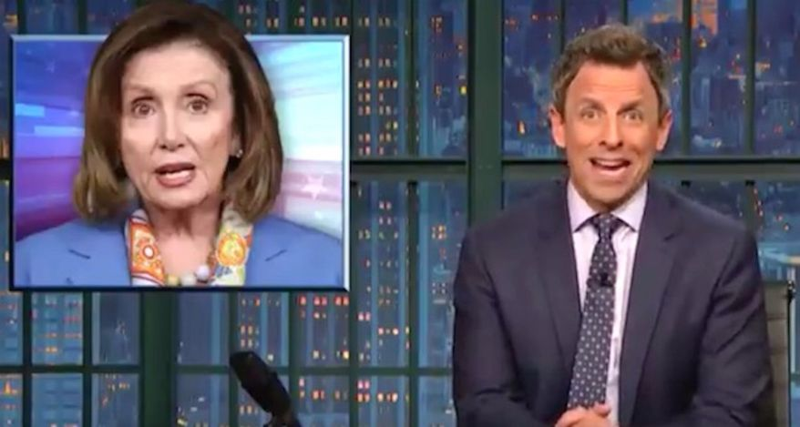 "Comedian Seth Meyers told his ""Late Night"" studio audience on Nov. 27, 2017, that House Minority Leader Nancy Pelosi's comments on sexual misconduct allegations against Rep. John Conyers were ""shockingly tone deaf."" (Image: NBC, ""Late Night"" screenshot)"