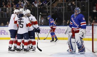 The Florida Panthers celebrate a goal against the New York Rangers during the first period of an NHL hockey game, Tuesday, Nov. 28, 2017, in New York. (AP Photo/Julie Jacobson)
