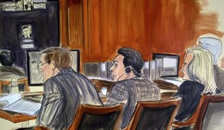 In this court room sketch, defendant, Mehmet Hakan Atilla, center, listens to proceedings from the defense table Tuesday, Nov. 28, 2017, in New York. Prosecutors claim that Atilla laundered Iranian oil money in violation of U.S. economic sanctions: a conspiracy involving bribes and kickbacks to high-level officials. Seated from left are defense attorney Victor Rocco, defendant Mahmet Hajan Atilla, defense attorney Cathy Flemming. (Elizabeth Williams via AP)