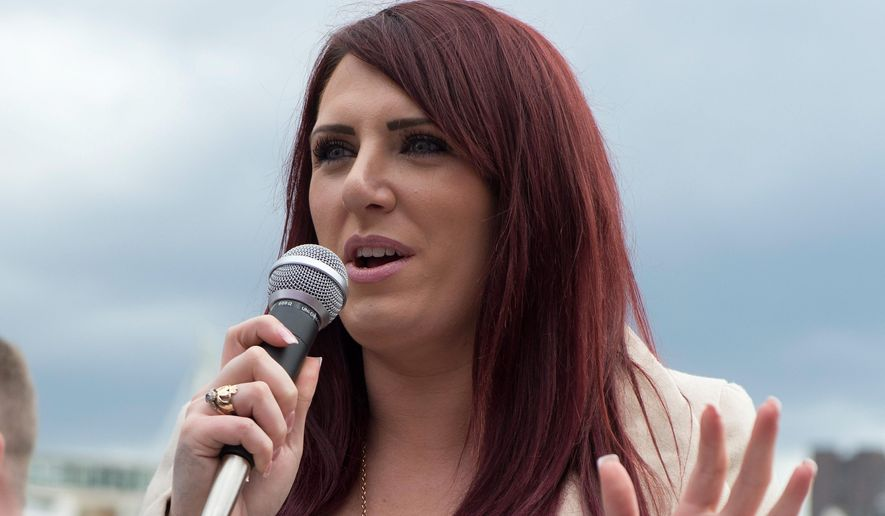 This is a March 1, 2017, file photo of deputy leader of far-right group Britain First Jayda Fransen. British opposition politicians are demanding the government revoke an invitation to U.S. President Donald Trump after he retweeted videos posted by Jayda Fransen deputy leader of extreme far-right group Britain First. On Wednesday Nov. 29, 2017, Trump retweeted three videos from the account of the group's deputy leader, Jayda Fransen, purporting to show violence by Muslims. (Ben Stevens/PA File via AP) **FILE**