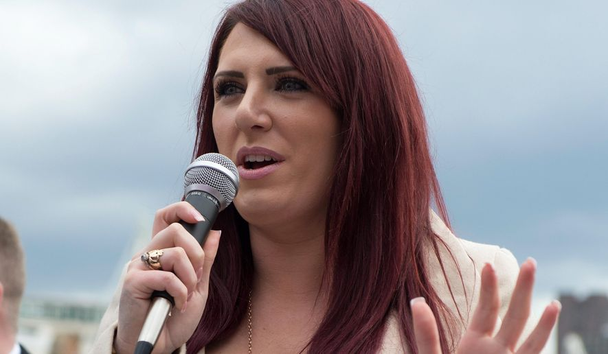 This is a March 1, 2017, file photo of deputy leader of far-right group Britain First Jayda Fransen. On March 14, 2018, Facebook announced that it had banned both Britain First and Fransen from using the social-media platform, citing persistent violations of terms of service that forbid hate speech. (Ben Stevens/PA File via AP) ** FILE **