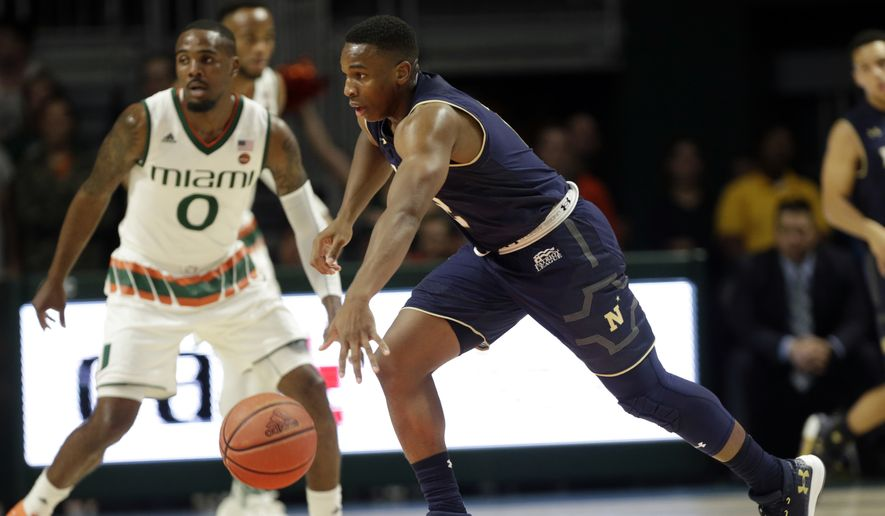 Navy's Hasan Abdullah drives during the first half of an NCAA college basketball game against Miami, Sunday, Nov. 12, 2017 photo, in Coral Gables, Fla. (AP Photo/Lynne Sladky) **FILE**