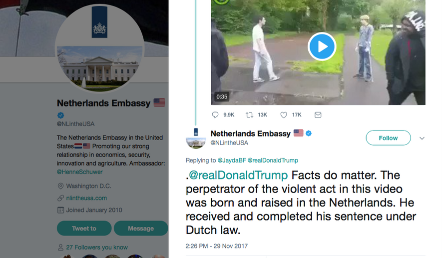 Screen capture of a Nov. 29, 2017 tweet by the Netherlands Embassy in Washington, D.C., taking President Trump to task over a tweet it said contained false information (Twitter)