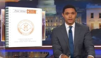 "Comedian Trevor Noah of Comedy Central's ""The Daily Show"" used a segment of his Nov. 28 show to mock Sen. Elizabeth Warren's contributions to a cookbook titled ""Pow Wow Chow."" (Comedy Central)"