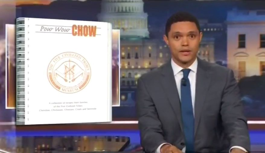"""Comedian Trevor Noah of Comedy Central's """"The Daily Show"""" used a segment of his Nov. 28 show to mock Sen. Elizabeth Warren's contributions to a cookbook titled """"Pow Wow Chow."""" (Comedy Central)"""
