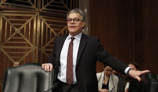 Senate Health, Education, Labor and Pensions Committee member Sen. Al Franken, D-Minn., arrives before Alex Azar, President Donald Trump's nominee to become Secretary of Health and Human Services, testifies at a Senate Health, Education, Labor and Pensions Committee confirmation hearing on Capitol Hill in Washington, Wednesday, Nov. 29, 2017. (AP Photo/Carolyn Kaster)