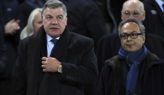 Sam Allardyce in the stands with Everton owner Farhad Moshiri, right, prior to the English Premier League soccer match against West Ham United at Goodison Park, Liverpool, England, Wednesday Nov. 29, 2017. (Peter Byrne/PA via AP)