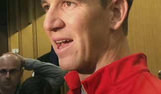 New York Giants quarterback Eli Manning speaks with reporters at the NFL football team's training facility, Tuesday, Nov. 28, 2017, in East Rutherford, N.J. The Giants announced on Tuesday that Geno Smith will start in place of Manning when they face the Raiders in Oakland on Sunday. (AP Photo/Tom Canavan)