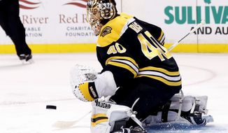 Boston Bruins goalie Tuukka Rask makes a save against the Tampa Bay Lightning during the first period of an NHL hockey game in Boston, Wednesday, Nov. 29, 2017. (AP Photo/Winslow Townson)