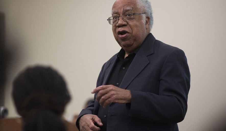 This 2015 photo provided by the University of California, Irvine shows Joseph L. White, speaking at the university in Irvine, Calif. White, a psychologist, social activist and teacher who helped pioneer the field of black psychology to counter what he saw as rampant ignorance and prejudice in the profession, has died. He was 84. (Steve Zylius/UCI via AP)