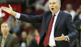 Houston Rockets head coach Mike D'Antoni argues a call during the first half of an NBA basketball game against the Indiana Pacers, Wednesday, Nov. 29, 2017, in Houston. (AP Photo/Eric Christian Smith)