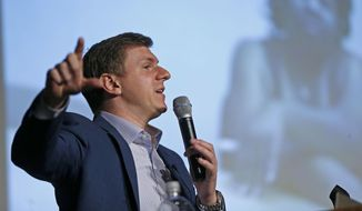 James O'Keefe, of Project Veritas, speaks at on the Southern Methodist University campus in Dallas, Wednesday, Nov. 29, 2017. (Jae S. Lee/The Dallas Morning News via AP) ** FILE **