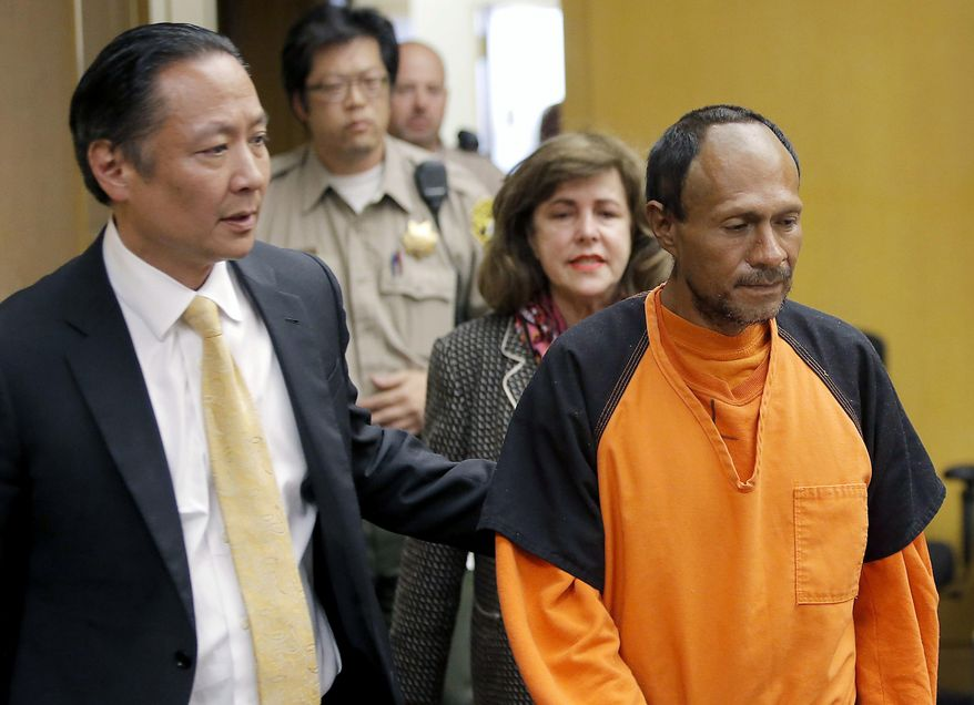 FILE - In this July 7, 2015 file photo, Jose Ines Garcia Zarate, right, is led into the courtroom by San Francisco Public Defender Jeff Adachi, left, and Assistant District Attorney Diana Garciaor, center, for his arraignment at the Hall of Justice in San Francisco. Jurors ended their fifth day of deliberations Wednesday, Nov. 29, 2017, without reaching a verdict in the murder trial that sparked a national debate over immigration policy. Jurors are deciding whether Garcia Zarate meant to shoot Steinle in 2015 or if they believe his claim that the the shooting was accidental. (Michael Macor/San Francisco Chronicle via AP, Pool, File)