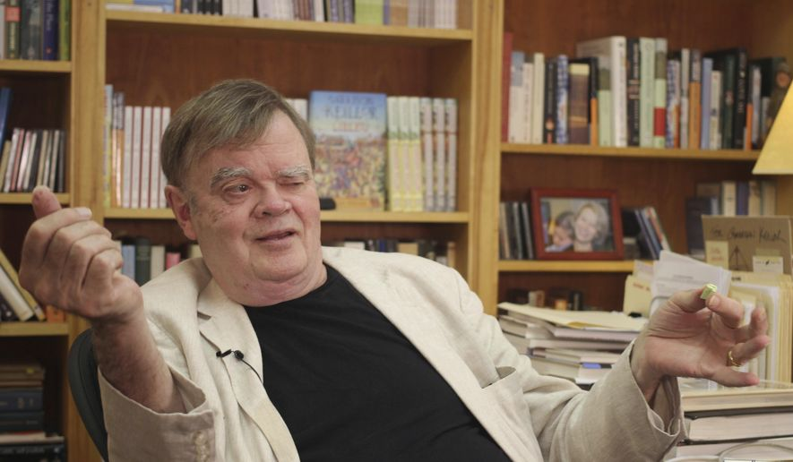 "In this July 26, 2017 file photo, Garrison Keillor, creator and former host of, ""A Prairie Home Companion,"" talks at his St. Paul, Minn., office. Keillor said Wednesday, Nov. 29, he's been fired by Minnesota Public Radio over allegations of improper behavior. (AP Photo/Jeff Baenen, File)"