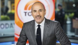 "This Nov. 8, 2017, photo released by NBC shows Matt Lauer on the set of the ""Today"" show in New York. NBC News fired the longtime host for ""inappropriate sexual behavior."" Lauer's co-host Savannah Guthrie made the announcement at the top of Wednesday's ""Today"" show. (Nathan Congleton/NBC via AP)"
