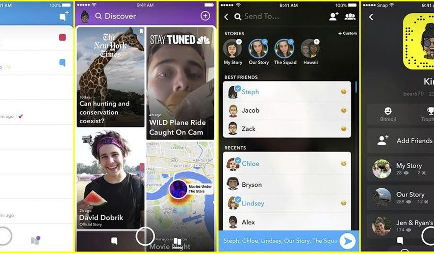 This photo provided by Snapchat shows screen examples of Snapchat's redesign. Snapchat is separating what friends share and what media organizations publish in an attempt to appeal to a broader range of users. Users will now see two separate feeds: one from friends and one from publishers and non-friend accounts they follow. (Snapchat via AP)