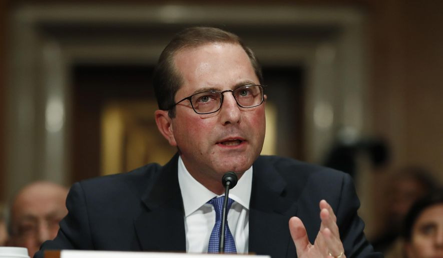 Alex Azar, President Donald Trump's nominee to become Secretary of Health and Human Services, testifies during a Senate Health, Education, Labor and Pensions Committee confirmation hearing on Capitol Hill in Washington, Wednesday, Nov. 29, 2017. (AP Photo/Carolyn Kaster) **FILE**