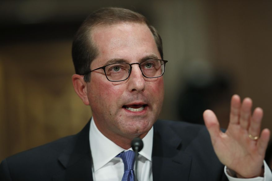 Alex Azar, President Donald Trump's nominee for secretary of Health and Human Services, testifies during a Senate Health, Education, Labor and Pensions Committee confirmation hearing on Capitol Hill in Washington on Nov. 29, 2017. (Associated Press) **FILE**