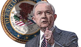 Jeff Sessions at the Department of Justice Illustration by Greg Groesch/The Washington Times