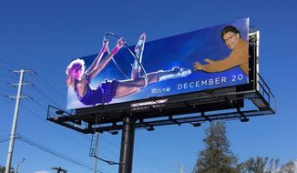 """An altered billboard for actor Hugh Jackman's """"Greatest Showman"""" welcomes commuters in Los Angles, California, Nov. 30, 2017. The street artist known as Sabo used an image of Minnesota Sen. Al Franken to draw attention to his sexual misconduct scandal. (Image: Twitter, Unsavory Agents)"""