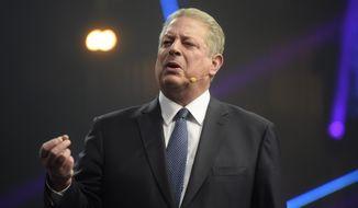 Former Vice President of the United States, Al Gore speaks during a Slush 2017 startup and technology event in Helsinki, Finland, Thursday, Nov. 30, 2017. (Vesa Moilanen/Lehtikuva via AP)