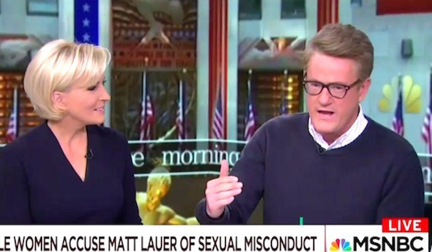 "MSNBC's Joe Scarborough and ""Morning Joe"" co-host Mika Brzezinski discuss disgraced NBC star Matt Lauer on Nov. 30, 2017. (Image: MSNBC screenshot)"