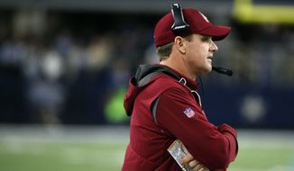 Washington Redskins head coach Jay Gruden watches in the second half of an NFL football game against the Dallas Cowboys on Thursday, Nov. 30, 2017, in Arlington, Texas. (AP Photo/Michael Ainsworth)