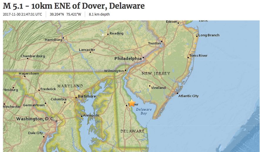 A map showing the location of the 5.1-magnitude earthquake in Delaware Bay on Nov. 30, 2017. (U.S. Geological Survey)