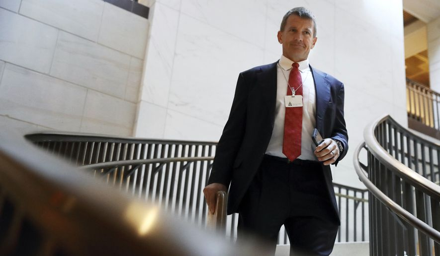 Blackwater founder Erik Prince arrives for a closed meeting with members of the House Intelligence Committee, Thursday, Nov. 30, 2017, on Capitol Hill in Washington. (AP Photo/Jacquelyn Martin) ** FILE **