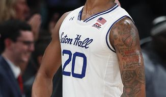 Seton Hall forward Desi Rodriguez celebrates after scoring against Texas Tech during the second half of an NCAA college basketball game, Thursday, Nov. 30, 2017, in New York. Seton Hall won 89-79. (AP Photo/Julie Jacobson)