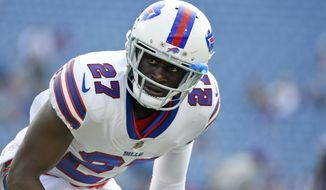 FILE - In this Aug. 10, 2017, file photo, Buffalo Bills cornerback Tre'Davious White warms up before a preseason NFL football game in Orchard Park, N.Y. Having apparently been kept in the dark since being selected in the first round of the draft, Bills cornerback Tre'Davious White was genuinely curious about Patriots quarterback Tom Brady's career-long run of dominance over Buffalo. The New England Patriots play the Buffalo Bills on Sunday, Dec. 3, 2017. (AP Photo/Rich Barnes, File)