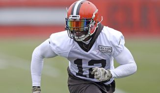 FILe - In this Nov. 22, 2017, file photo, Cleveland Browns wide receiver Josh Gordon runs a route during NFL football practice, in Berea, Ohio. Gordon is just days away from playing in his first NFL regular-season game in three years, the end of a journey through substance abuse and suspensions for the Browns wide receivers who is out of second chances. (Joshua Gunter/Cleveland.com via AP, File)