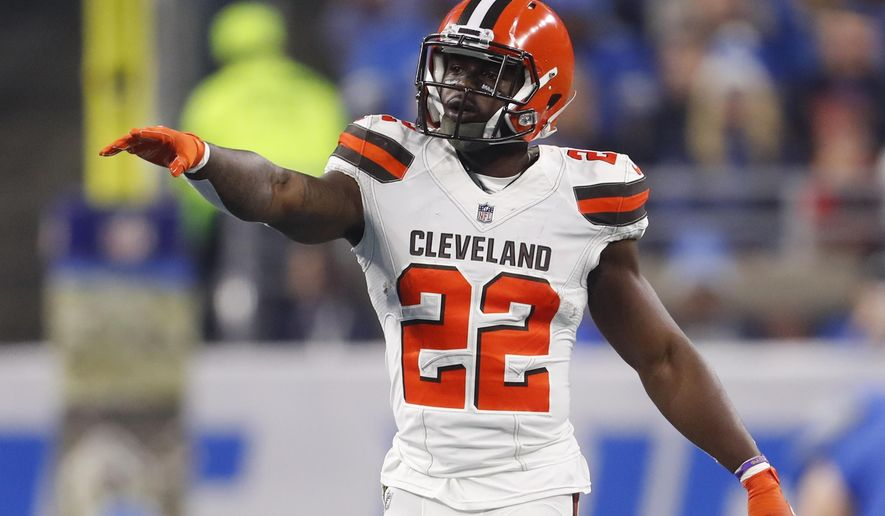 FILE - In this Nov. 12, 2017, file photo, Cleveland Browns free safety Jabrill Peppers (22) gestures during an NFL football game against the Detroit Lions in Detroit. Peppers was fined $24,000 by the NFL for his illegal hit on Bengals receiver Josh Malone last Sunday. Peppers believes he led with his shoulder and his hit was within the rules and plans to appeal the fine.  (AP Photo/Paul Sancya, File)