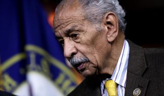 "FILE -- In this file photo from Tuesday, Feb. 14, 2017, Rep. John Conyers, D-Mich., attends a news conference on Capitol Hill in Washington.  House Minority Leader Nancy Pelosi, D-Calif., the top Democrat in the House, said today, Thursday, Nov. 30, 2017, that Conyers should resign, saying the accusations are ""very credible.""  (AP Photo/J. Scott Applewhite, file)"