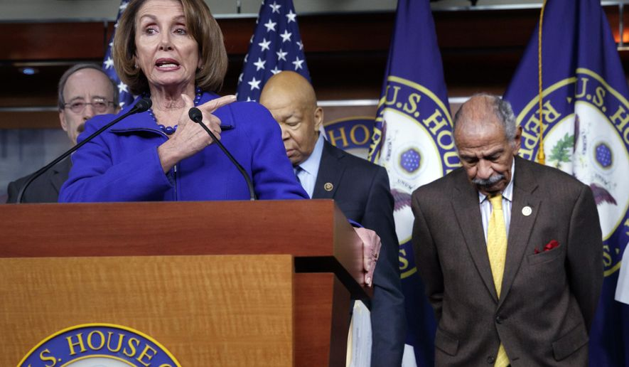 "In this file photo from Tuesday, Feb. 14, 2017, House Minority Leader Nancy Pelosi, D-Calif., Rep. John Conyers, D-Mich., right, and other top House Democrats, speak at a news conference on Capitol Hill in Washington. Pelosi said Thursday, Nov. 30, 2017, that Conyers should resign, saying the accusations are ""very credible.""  (AP Photo/J. Scott Applewhite, file)"