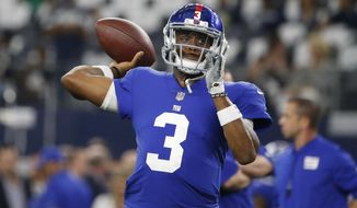 FILE - In this Sept. 10, 2017, file photo, New York Giants quarterback Geno Smith (3) throws prior to an NFL football game against the Dallas Cowboys, in Arlington, Texas. The New York Giants are changing quarterbacks for first time in more than 13 years. Yes, Eli Manning is not going to start. The Giants announced on Tuesday, Nov. 28, 2017, that Geno Smith will start in place of Manning when the Giants (2-9) face the Raiders in Oakland on Sunday. (AP Photo/Michael Ainsworth, File)