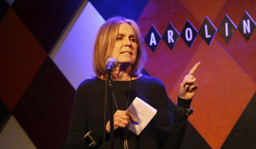 """In this photo provided by Ms. Foundation, Ms. Foundation Founding Mother Gloria Steinem performs at """"Laughter is the Best Resistance"""" at Carolines on Broadway, Wednesday, Nov. 29, 2017, in New York. Feminist leader Steinem tried her hand at standup comedy, taking the mic at a benefit for the Ms. Foundation for Women at a Manhattan comedy club. (Mark Clennon/Ms. Foundation via AP)"""