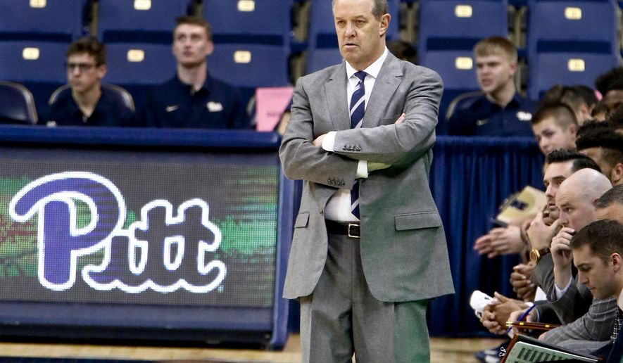 Pittsburgh head coach Kevin Stallings watches as his team plays against High Point in the second half of an NCAA college basketball game, Tuesday, Nov. 28, 2017, in Pittsburgh.Pittsburgh won 71-63. (AP Photo/Keith Srakocic)