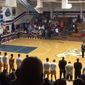 A North Carolina high school gymnasium erupted into chorus Tuesday night after the school's PA system playing the national anthem ran into technical difficulties. (Twitter/@FO_PMO)