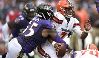 FILE - In this Sept. 17, 2017, file photo, Baltimore Ravens outside linebacker Terrell Suggs (55) strips the ball from Cleveland Browns quarterback DeShone Kizer (7) forcing a turnover during the first half of an NFL football game in Baltimore. The Baltimore Ravens (6-5) lead the NFL with 18 interceptions and 26 takeaways. They have three shutouts, and last Monday they forced Houston quarterback Tom Savage into three turnovers in a 23-16 victory.Detroit quarterback Matthew Stafford has thrown eight interceptions and lost six fumbles this season. If the Lions (6-5) are to stay in the playoff hunt, Stafford must protect the football when they take on the Ravens on Sunday. (AP Photo/Nick Wass, File)