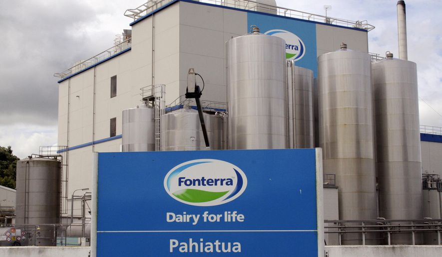 FILE - This Dec. 11, 2013 file photo shows a Fonterra milk powder factory at Pahiatua, New Zealand. An arbitration tribunal has ordered New Zealand dairy giant Fonterra to pay Danone of France US$125 million for recall costs stemming from a 2013 food scare. (Steve Carle/New Zealand Herald via AP, File)
