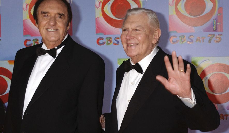 """FILE - In this Nov. 2, 2003 file photo, Jim Nabors, left, and Andy Griffith, cast members from the series """"The Andy Griffith Show,"""" arrive to CBS's 75th anniversary celebration in New York. Nabors died peacefully at his home in Honolulu on Thursday, Nov. 30, 2017, with his husband Stan Cadwallader at his side. He was 87.  (AP Photo/Louis Lanzano, File)"""