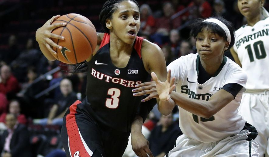 FILE - In this Feb. 18, 2016, file photo, Rutgers guard Tyler Scaife (3) drives as Michigan State guard Morgan Green (13) tries to steal the ball during the second half of an NCAA college basketball game, in Piscataway, N.J. Scaife had surgery to correct an atrial septal defect and she redshirted last year. Now she's back and leading Rutgers, which has won five of its first seven games. (AP Photo/Mel Evans, File)