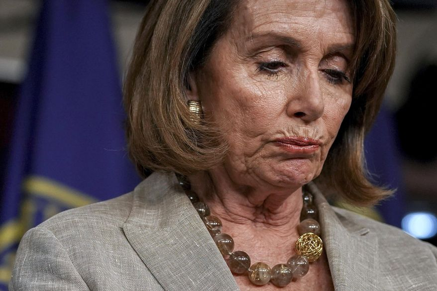In this May 25, 2017, file photo, House Minority Leader Nancy Pelosi of Calif. pauses during a news conference on Capitol Hill in Washington. (AP Photo/Andrew Harnik, File)